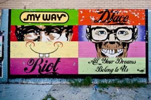 Este é o mural pintado por D*Face, em 2009,  no Distrito de Meatpacking  em Nova York, EUA