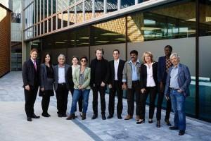 Jarre com seus colegas que defendem a propriedade intelectual em frente a sede da WIPO em Genebra na Suiça.