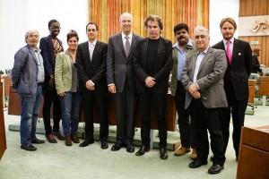 Jarre com os representantes do CISAC e da WIPO