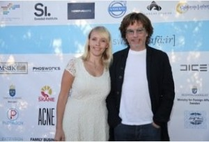 "A compositora Christine Hals com Jarre durante a ""Swedish Affäir""(2013)."