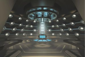 Interior da TARDIS de Doctor Who.