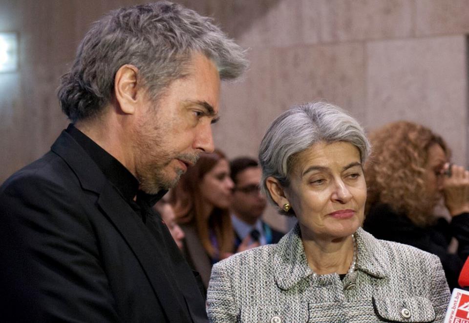 Jarre e a Diretora Geral da Unesco Irina Bokova