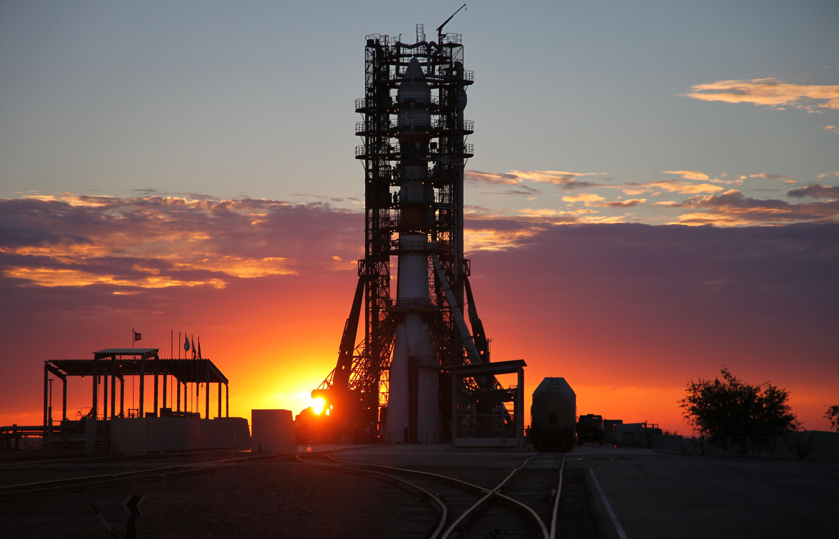 A Soyuz-2 rocket  carrying a Resurs-P satellite rises at a launch pad in the Russian leased Kazakhstan's Baikonur cosmodrome late. The Russian carrier rocket successfully placed on the target orbit the first Resurs-P Earth imaging satellite, the RIA-Novosti news agency reported. (Getty Images)
