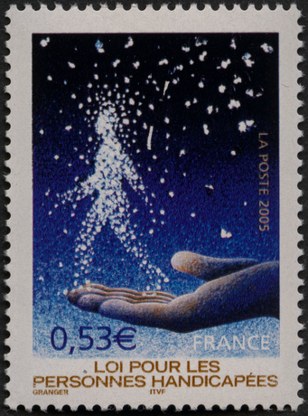 """Selo postal para La Poste lançado em 2005 [onde se lê """"Lei para Pessoas com Deficiências""""]"""