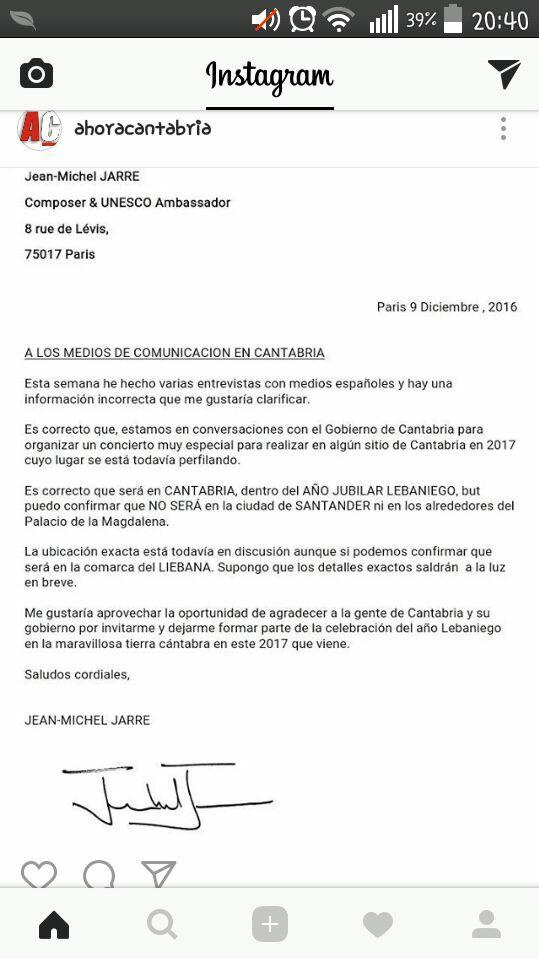 Carta de Jarre a imprensa desmentido concerto em Santander